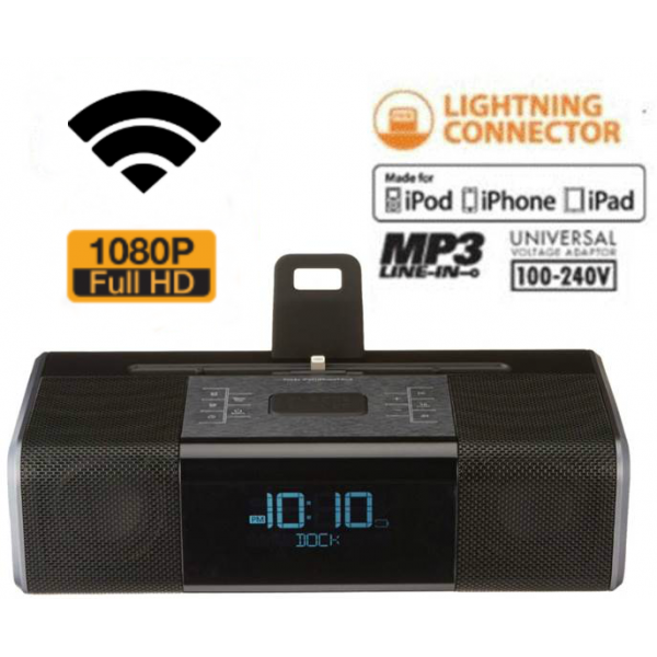 HIDDEN CAMERA CLOCK RADIO | WIFI IP COLOR CAMERA | HD 1080P | REMOTE VIEW | BUILT-IN DVR | IPHONE 5/6/7 COMPATIBLE