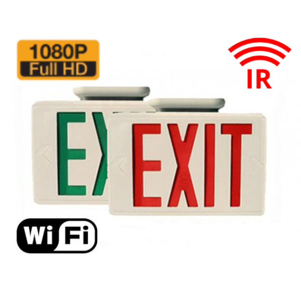 HIDDEN CAMERA EXIT SIGN | WIFI IP COLOR CAMERA | HD 1080P | REMOTE VIEW | NIGHT VISION | BUILT-IN DVR