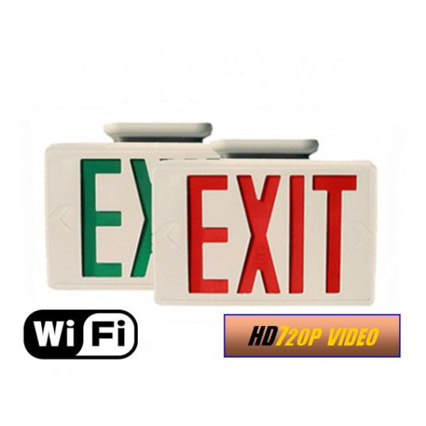 HIDDEN CAMERA EXIT SIGN | WIFI IP COLOR CAMERA | HD 1080P | REMOTE VIEW | BUILT-IN DVR